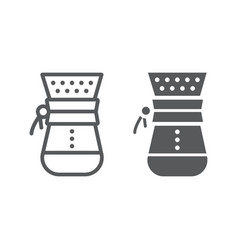 Chemex line and glyph icon coffee and cafe vector