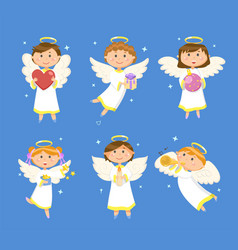 christmas angels valentines day cupids children vector image