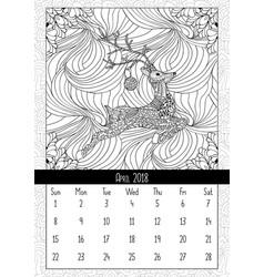 christmas deer handdrawn calendar april 2018 year vector image