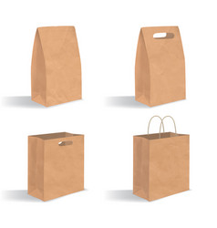collection of empty brown paper bag with handles vector image