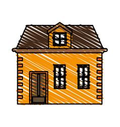 Color crayon stripe image cartoon facade house vector