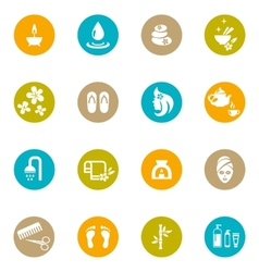 Colored Spa and Zen Icons on White vector image