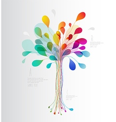 Colorful tree created from lines and leafs vector image