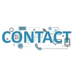 Contact concept flat line design with icons and vector
