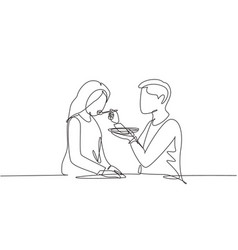continuous one line drawing romantic male feeds vector image