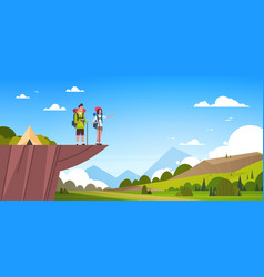 couple of tourists with backpacks over beautiful vector image