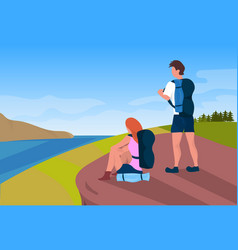couple tourists hikers backpacks man woman river vector image