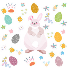 cute bunny with easter eggs vector image