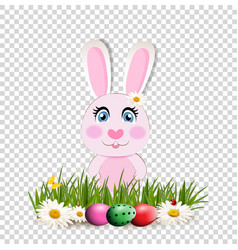Cute cartoon pink bunny among dyed eggs on green vector