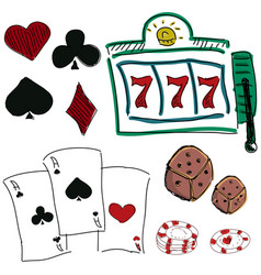 Drawn colorful icons of gambling games vector