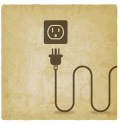 electric wire with plug near outlet old background vector image