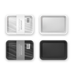 empty plastic fast food tray container mockup vector image