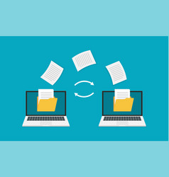 File transfer two laptops with folders on screen vector