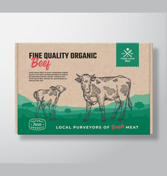 Fine quality organic beef meat packaging vector