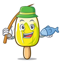 Fishing lemon ice cream mascot cartoon vector