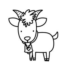 Goat bovine with bell farm animal cartoon thick vector
