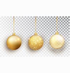 Gold christmas tree toy set isolated on a vector