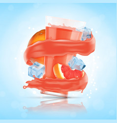 grapefruit juice splash vector image