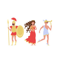 Greek gods and goddess with ares holding spear vector