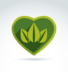 Green leaves in the shape of crown placed on a vector image