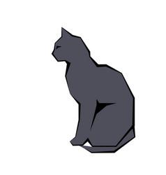 grey silhouette of cat dark wild vector image
