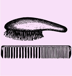 Hair brush comb vector