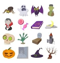 Halloween cartoon icons vector image