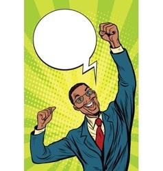 happy African businessman winner emotions vector image