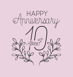 Happy anniversary number 10 with wreath crown vector