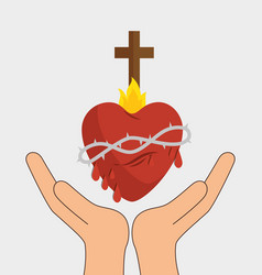 Heart with cross religious symbol vector