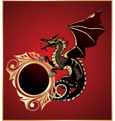 heraldic sign with dragon vector image