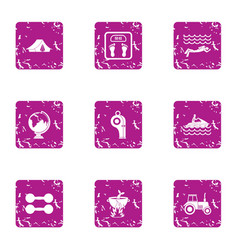 Hiking sport icons set grunge style vector