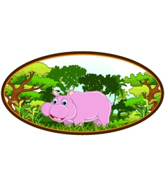 hippo with forest background vector image