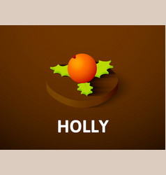 holly isometric icon isolated on color background vector image