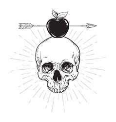 Human skull and apple pierced with arrow line art vector