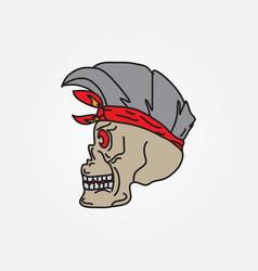 human skull hand drawing vector image