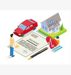 Insurance services concept flat isometric vector