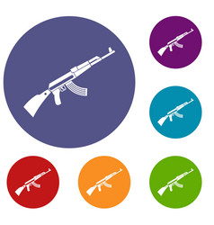 Kalashnikov machine icons set vector