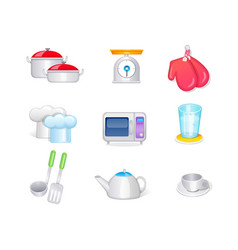 kitchen icon set collection 3d icon vector image