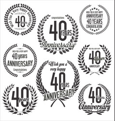 Laurel wreaths anniversary collection 40 years vector