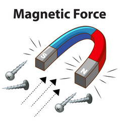 Magnetic force with many screw on white background vector