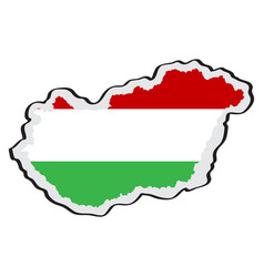 map of hungary with its flag vector image
