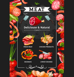 meat sausages salami and bacon ham and chicken vector image