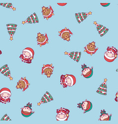 merry christmas cute kawaii character pattern vector image