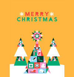 Merry christmas geometric folk icon pine tree card vector