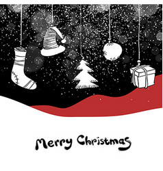 Merry Christmas postcard Christmas gifts and ball vector image