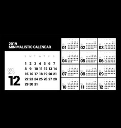 minimalistic design calendar for 2019 year one vector image