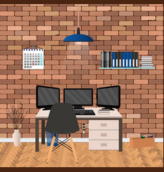 modern workspace design in hipster style with vector image
