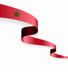 Moroccan flag wavy abstract background vector