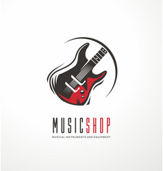 Music shop logo design concept vector